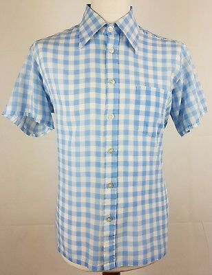 "Vtg 1970s S-Sleeve Blue Gingham Check PolyCotton Shirt Mod Weller 17.5""/L EY90"