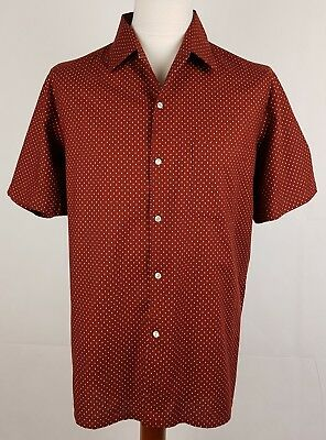 "Vtg 60s/70s S-Sleeve Ditsy Pattern Open Collar French Cotton Shirt 17.5""/XL EY95"