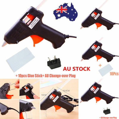 AU 20W Electric Heating Hot Melt Glue Gun Art Craft Repair Tool +10X Glue Sticks