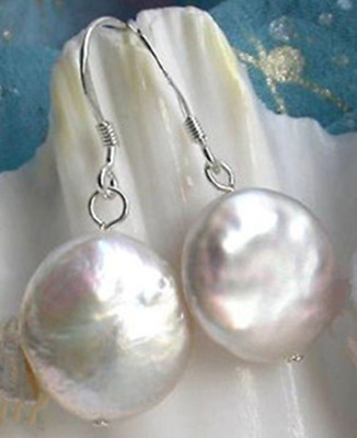 Natural White Coin Freshwater Pearl Sterling 11-12mm Dangle Earrings