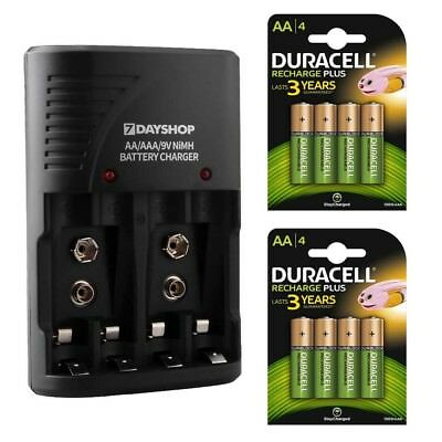 7dayshop AA AAA Battery Charger with 8x Duracell AA NiMH Rechargeable Batteries
