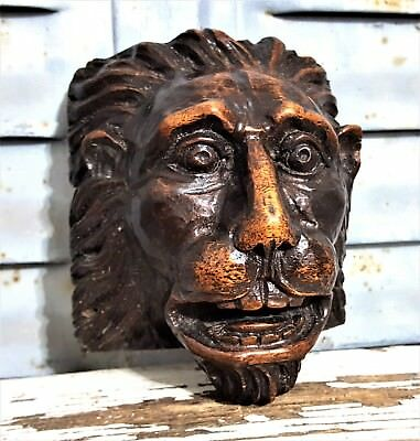 Gothic Lion Figure Antique French Hand Carved Wood Salvaged Furniture Ornament