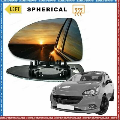 Left Passenger side Wing mirror glass for Vauxhall Corsa E 14-17 Heated