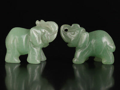2 Natural Dongling Jade Carving Elephant Statue Pendant Collectable Old Decorati