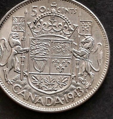 1943  Silver  50 Cent Coin Of Canada