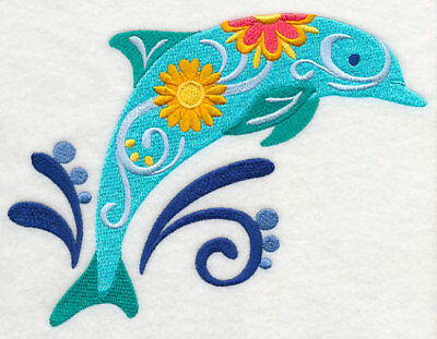 Large Embroidered Zippered Tote - Flower Power Dolphin M5083
