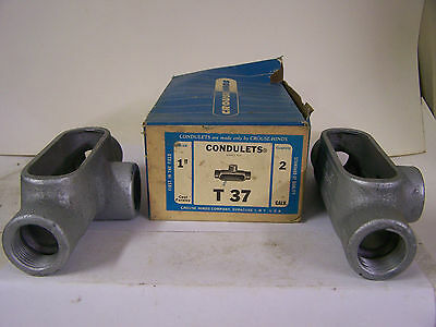 """T37 Crouse Hinds Conduit Outlet Body 1"""" Galvanized Crouse HInds Condulets Qty. 2"""