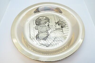 1974 Franklin Mint Sterling Silver Hanging the Wreath Norman Rockwell Plate