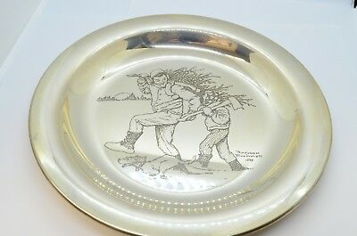 1970 Franklin Mint Sterling Silver Bringing Home the Tree Norman Rockwell Plate