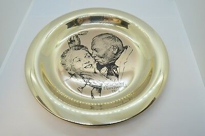 1971 Franklin Mint Sterling Silver Under The Mistletoe Norman Rockwell Plate