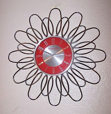 George Nelson Large Daisy Starburst  Wall Clock Red Face Works