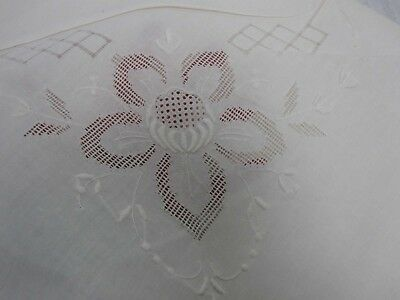 """VINTAGE WHITE LINEN TABLECLOTH with CUTWORK & EMBROIDERED FLOWERS 68"""" X 104"""""""