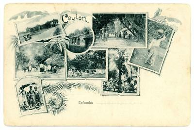 Ceylon printed postcard of Colombo views by Plate & Co