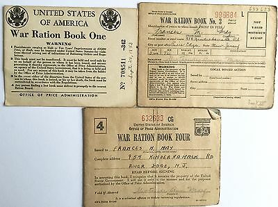 Vintage Ww2 World War 2 Homeland Ration Books Series 1 - 3 - 4 With Stamps