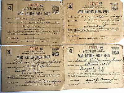 Vintage World War 2 Ww2 War Ration Books Lot Of 4 Series 4 Books All With Stamps