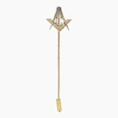 Victorian Blue Lodge Master Mason Stickpin - 10k Yellow Gold Antique Masonic