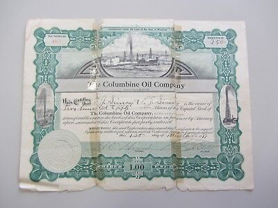 Columbine Oil Company 250 Shares Stock Certificate 1917 Taped