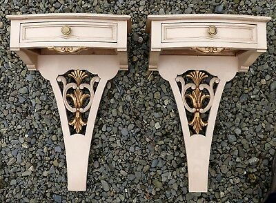Exquisite Pair of Ornate Vintage De Coene Painted Wall Mounting Bedside Cabinets