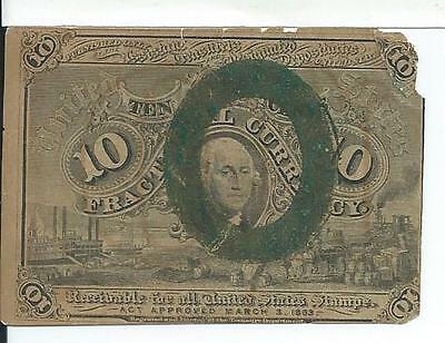 Civil War 2nd Issue Ten Cents United States Fractional Obsolete Currency Fr1249