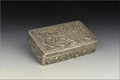Antique 19th Century Chinese Export Silver Covered Box w/ Relief Flowers