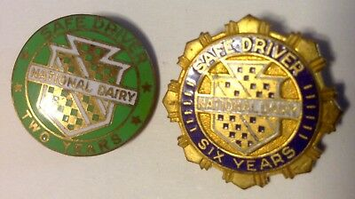 Two NATIONAL DAIRY SAFE DRIVER Two YEAR & Six YEAR SERVICE PINS enameled metal