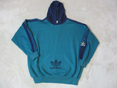 VINTAGE Adidas Hooded Jacket Adult Extra Large Green Blue Spell Out Mens 90s