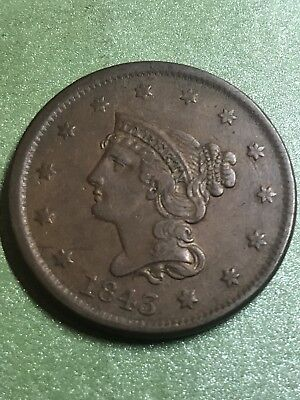 1843 Braided Hair Cent Petite Head Large Letters Rare Variety
