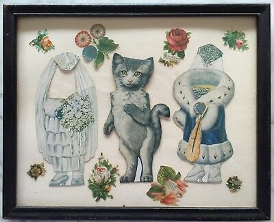 Vintage Cut-Out CAT w 2 Outfits~Die-Cut Floral Wooden Picture Frame Under Glass