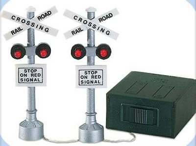 Dept 56 Snow Village  - Railroad Crossing Signs 55018 - Lights Flash - Exc Wbx