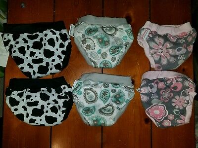 Lot of 6 Blueberry cloth training pants, Paisley, Petals, and Cow, Size Small