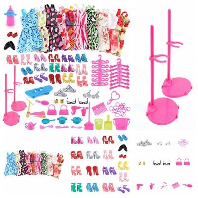 83PC/Set Barbie Dress Up Clothes Lot Cheap Doll Accessories Handmade Clothing