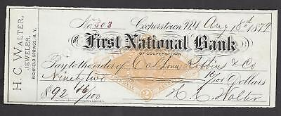 1879 Cooperstown New York Bank Check RN-G1