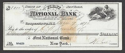 "1870 Cooperstown New York Bank Draft RN-B1 ""Maid"""