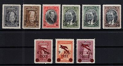 P61795/ Turkey / Mi # 1004 / 1009 – 1016 / 1018 Full Sets Unused (*) 200 €