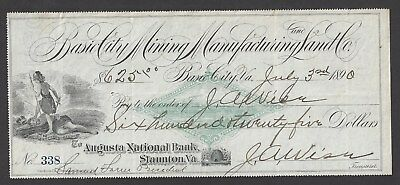 1890 Basic City Virginia Mining/Land Co. Bank Draft RN-FAC