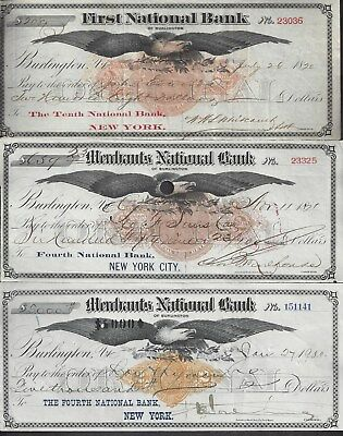 "3 Burlington Vermont ""Eagle"" Bank Drafts 1870-1900"