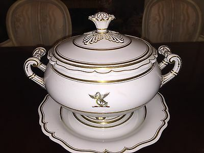 Antique French Old Paris Porcelain Tureen on Saucer