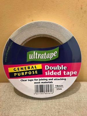 19mm TAPE ULTRATAPE DOUBLE SIDED UNIVERSAL STICKY GENERAL PURPOSE CLEAR JOINING