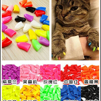 20pcs Soft Rubber Cat Pet Dog Nail Caps Cover Claw Control Paws off Size S-L