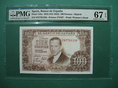 "1953 SPAIN 100 PESETAS MADRID P# 145a PMG 67 EPQ GEM UNC ""FINEST KNOWN """