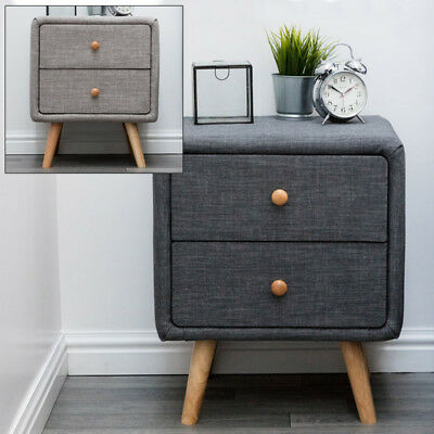 Modern Stylish Grey or Charcoal Fabric Bedside Table Cabinet 2 Drawer Wooden Leg