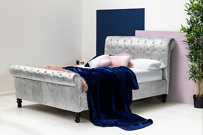 Silver Crushed Velvet Sleigh Bed Frame Double King Size Ottoman Storage Option