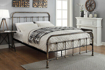 Antiqued Shabby Chic Black Metal Bed Frame Hospital Single Double King Size
