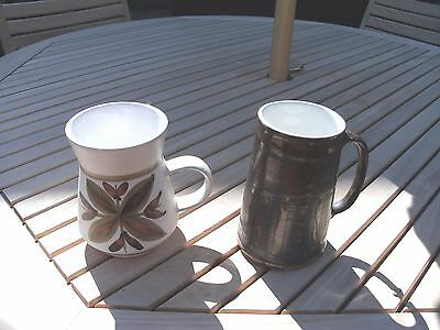 Pair Of Cinque Ports Pottery The Monastery Rye - Brown Striped & Retro Floral