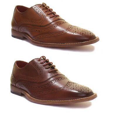Justin Reece Mick Mens Leather Sole Lace up Brogue Brown Size UK 6 - 12