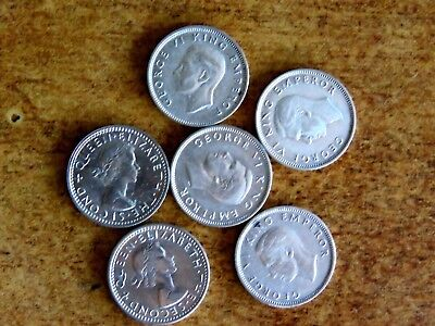 Group Of 6 High Grade New Zealand 1937 1940 1941 1942 1964 1965 Sixpence Coins