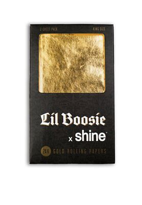 NEW Shine 24K Gold Lil Boosie x Shine King Size Rolling Papers 2 Sheet Pack
