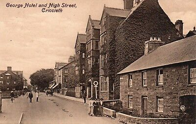 Vintage Postcard.george Hotel And High Street.criccieth.caernarvonshire.wales.