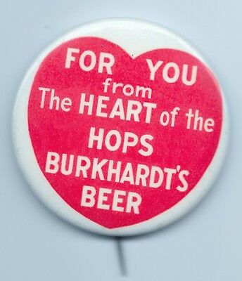 Burkhardt's Beer 2 inch Pinback Button - Akron OH - 1930's-1950's