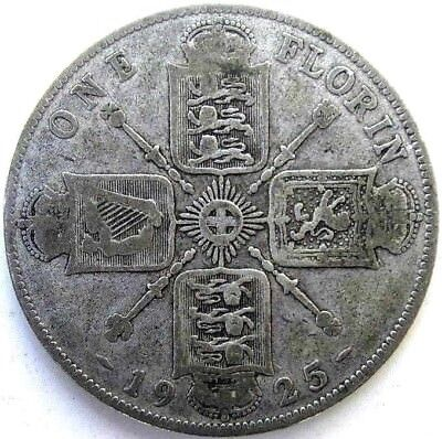Great Britain Uk Coins, One Florin 1925, George V, Silver 0.500
